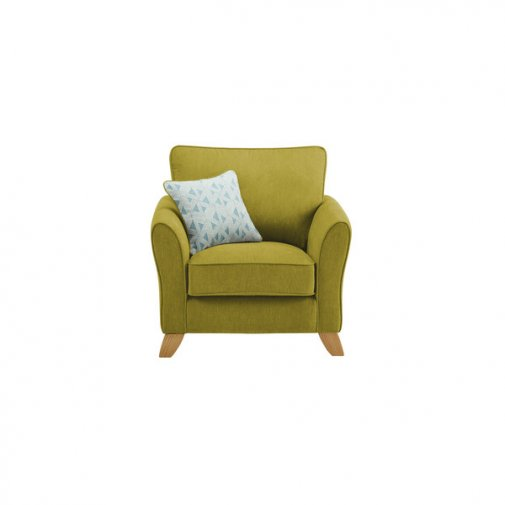 Jasmine Armchair in Cosmo Fabric - Apple with Bamboo Aqua Scatters
