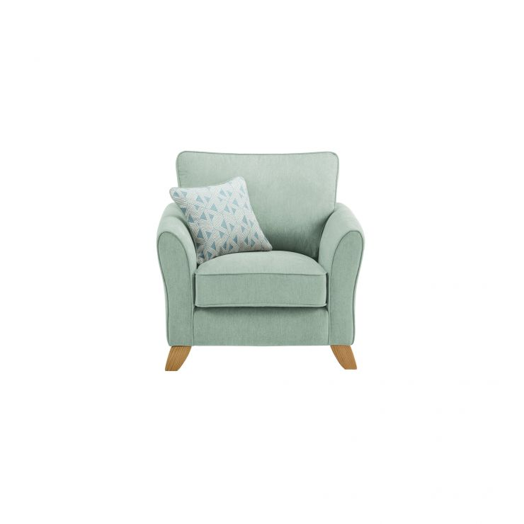 Jasmine Armchair in Cosmo Fabric - Duck Egg with Bamboo Aqua Scatters - Image 1