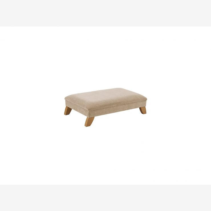Jasmine Footstool - Linen with Rustic Oak Feet - Image 1