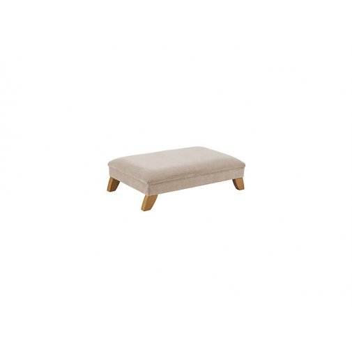 Jasmine Footstool - Silver with Rustic Oak Feet