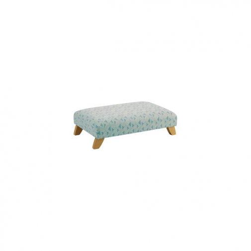 Jasmine Footstool in Bamboo Aqua Fabric