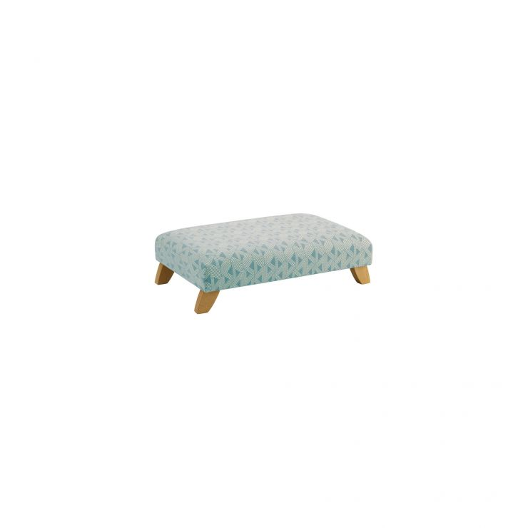 Jasmine Footstool in Bamboo Aqua Fabric - Image 1