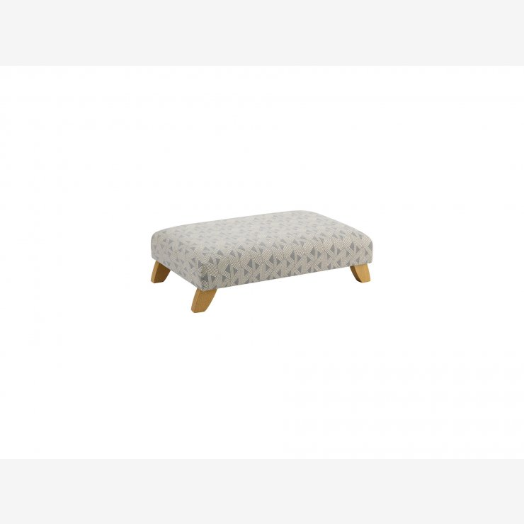 Jasmine Footstool in Silver and Bamboo Slate Fabric - Image 1