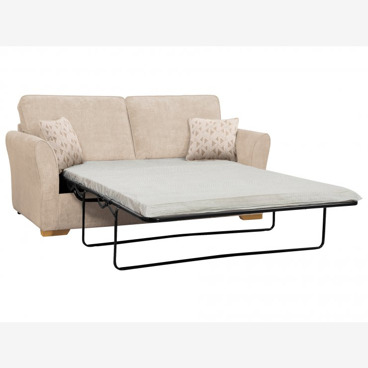 Jasmine 3 Seater Sofa Bed with Standard Mattress in Cosmo Linen with Bamboo Taupe Scatters - Image 2
