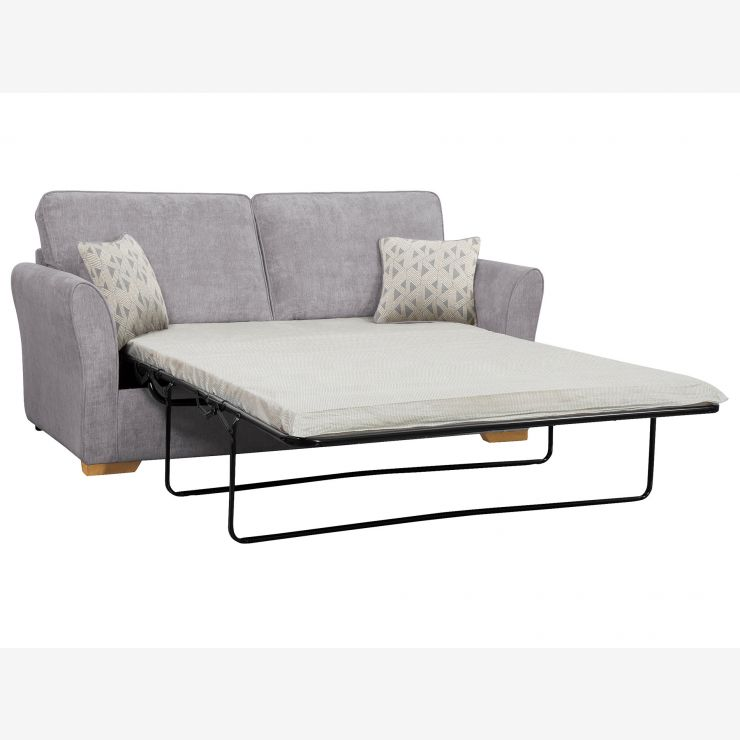Jasmine 3 Seater Sofa Bed with Standard Mattress in Cosmo Pewter with Bamboo Slate Scatters - Image 2