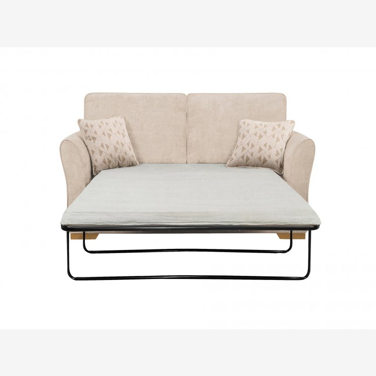 Jasmine 2 Seater Sofa Bed with Standard Mattress in Cosmo Linen with Bamboo Taupe Scatters - Image 2