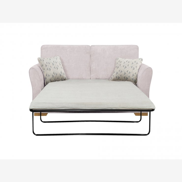 Jasmine 2 Seater Sofa Bed with Standard Mattress in Cosmo Silver with Bamboo Slate Scatters - Image 2