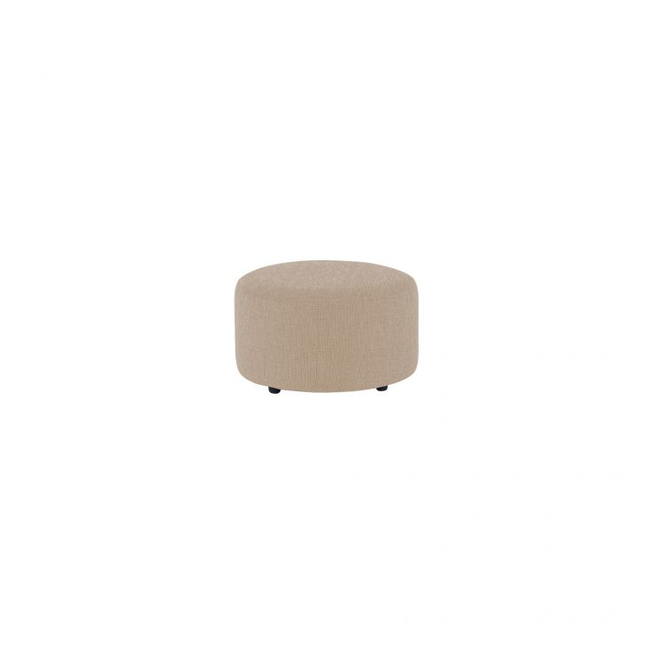 Jasmine Round Footstool in Cosmo Linen Taupe - Image 2