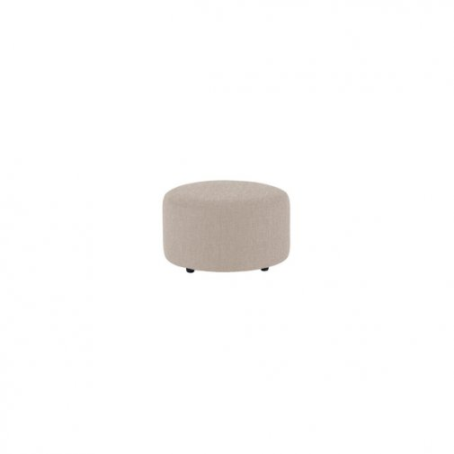 Jasmine Round Footstool in Grace Fabric - Silver
