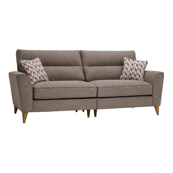 Jensen Beige 4 Seater Split Sofa with Coral Accent Cushions