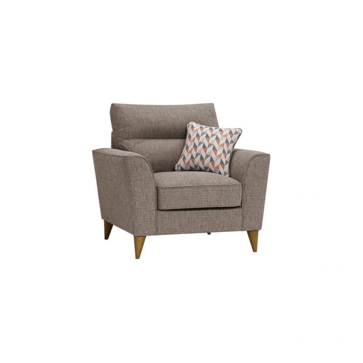 Jensen Beige Armchair with Coral Accent Cushion