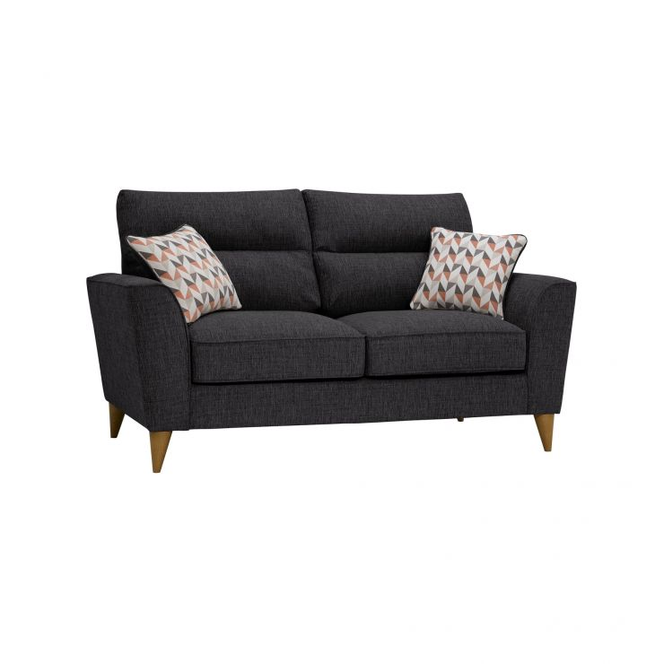 Jensen Black 2 Seater Sofa with Coral Accent Cushions