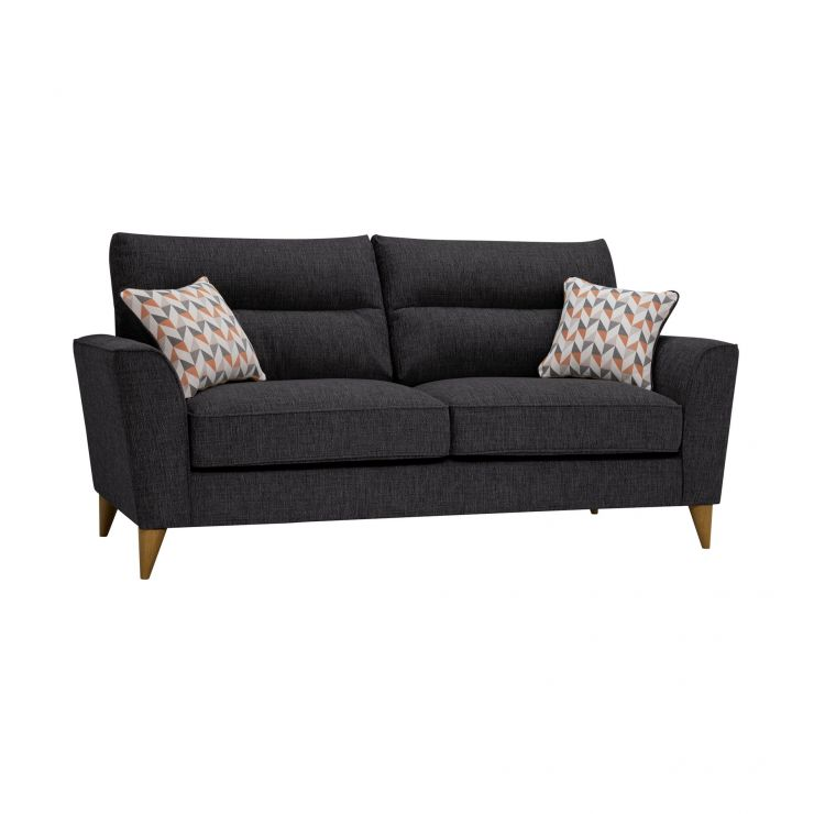 Jensen Black 3 Seater Sofa with Coral Accent Cushions