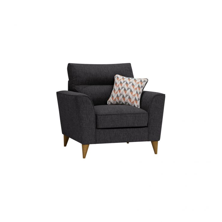 Jensen Black Armchair with Coral Accent Cushion