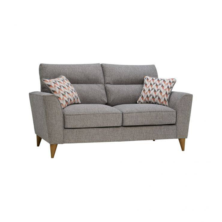 Jensen Silver 2 Seater Sofa with Coral Accent