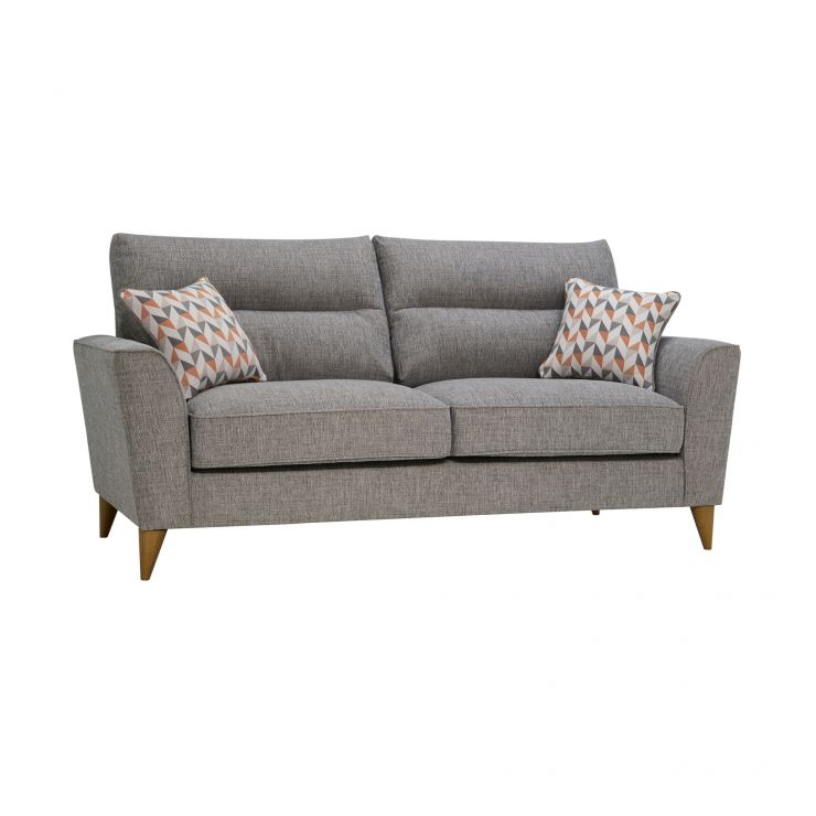 Jensen Silver 3 Seater Sofa with Coral Accent