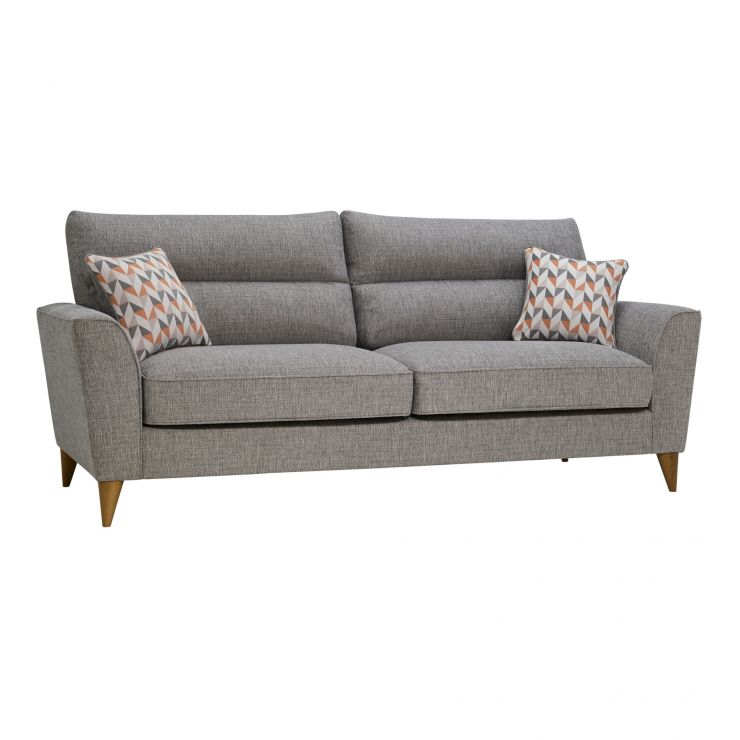 Jensen Silver 4 Seater Sofa with Coral Accent - Image 1
