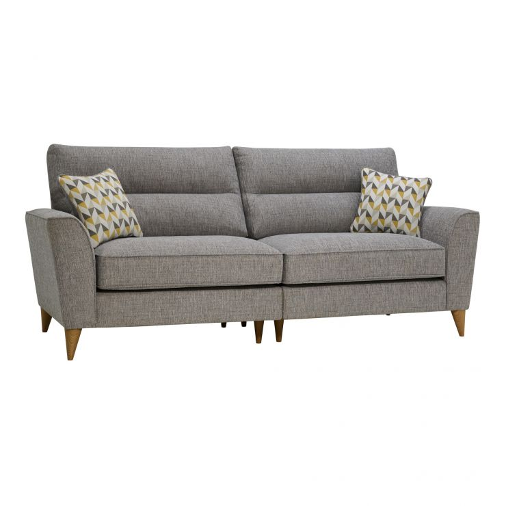 Jensen Silver 4 Seater Split Sofa with Zest Accent Cushions