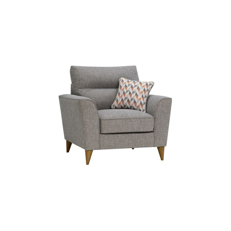Jensen Silver Armchair with Coral Accent
