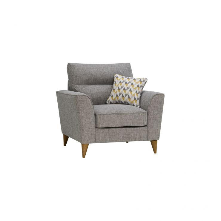 Jensen Silver Armchair with Zest Accent - Image 1