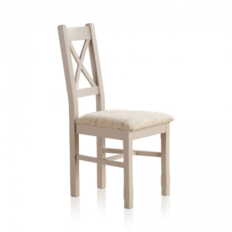 Kemble Painted Rustic Solid Oak Dining Chair - Scripted Beige Fabric - Image 3