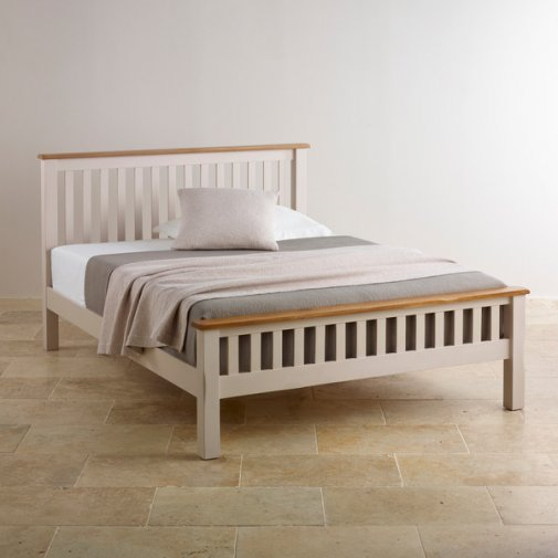 """Kemble Rustic Solid Oak and Painted 4ft 6"""" Double Bed"""