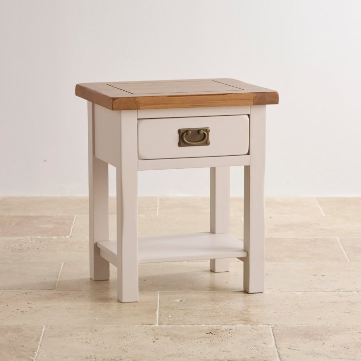 Kemble Rustic Solid Oak and Painted Lamp Table - Image 4