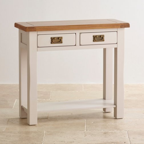 Kemble Rustic Solid Oak and Painted Console Table