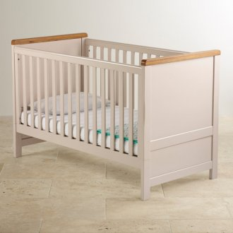 Kemble Rustic Solid Oak and Painted 3 in 1 Cot Bed