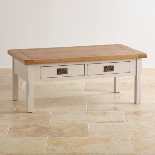 Kemble Rustic Solid Oak and Painted Coffee Table