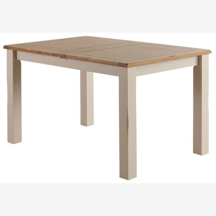 """Kemble Rustic Solid Oak and Painted 4ft 7"""" x 3ft Extending Dining Table - Image 7"""