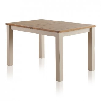 """Kemble Rustic Solid Oak and Painted 4ft 7"""" x 3ft Extending Dining Table"""