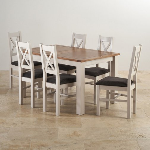 Rustic 8 Person Large Kitchen Dining Table Solid Wood 9 Pc: Kemble Extending Dining Set In Painted Oak: Table + 6 Chairs