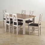 """Kemble Rustic Solid Oak and Painted 4ft 7"""" x 3ft Extending Dining Table & 6 Charcoal Kemble Chairs - Thumbnail 2"""