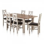 """Kemble Rustic Solid Oak and Painted 4ft 7"""" x 3ft Extending Dining Table & 6 Charcoal Kemble Chairs - Thumbnail 1"""