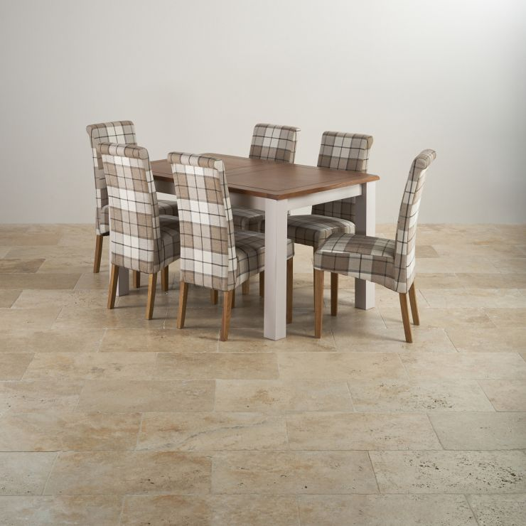 """Kemble Rustic Solid Oak and Painted 4ft 7"""" x 3ft Extending Dining Table with 6 Checked Brown Chairs - Image 8"""