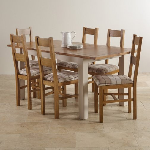 "Kemble Rustic Solid Oak and Painted 4ft 7"" x 3ft Extending Dining Table with 6 Farmhouse Chairs"