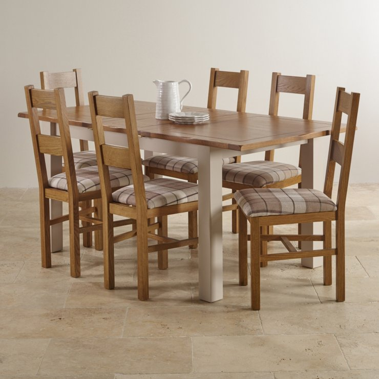 """Kemble Rustic Solid Oak and Painted 4ft 7"""" x 3ft Extending Dining Table with 6 Farmhouse Chairs"""