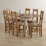 "Kemble Rustic Solid Oak and Painted 4ft 7"" x 3ft Extending Dining Table with 6 Farmhouse Chairs - Thumbnail 2"