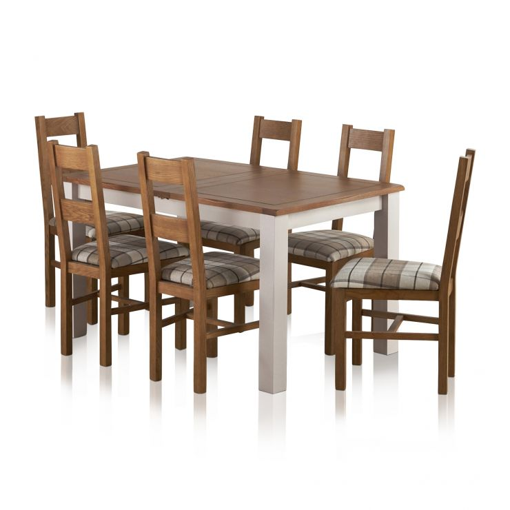 "Kemble Rustic Solid Oak and Painted 4ft 7"" x 3ft Extending Dining Table with 6 Farmhouse Chairs - Image 1"