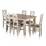 "Kemble Rustic Solid Oak and Painted 4ft 7"" x 3ft Extending Dining Table with 6 Kemble Chairs - Thumbnail 1"