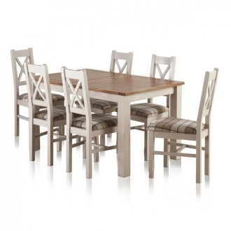 """Kemble Rustic Solid Oak and Painted 4ft 7"""" x 3ft Extending Dining Table with 6 Kemble Chairs"""