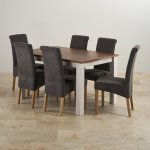 """Kemble Rustic Solid Oak and Painted 4ft 7"""" x 3ft Extending Dining Table with 6 Plain Charcoal Chairs - Thumbnail 2"""
