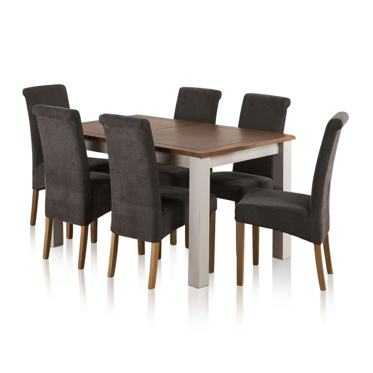 "Kemble Rustic Solid Oak and Painted 4ft 7"" x 3ft Extending Dining Table with 6 Plain Charcoal Chairs - Image 1"