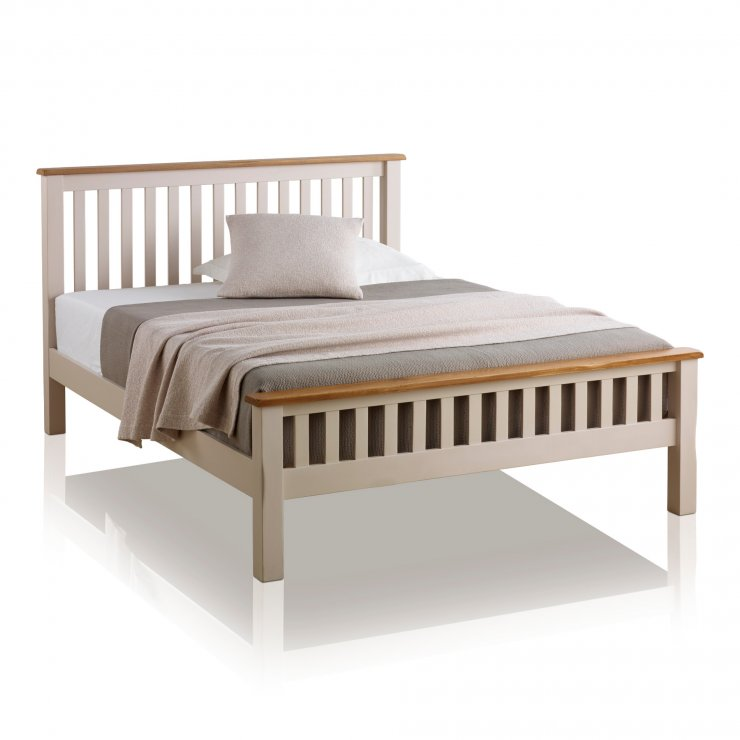 Kemble Rustic Solid Oak and Painted 5ft King-Size Bed - Image 4