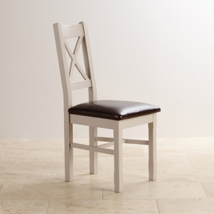 Kemble Rustic Solid Oak and Painted and Brown Leather Dining Chair