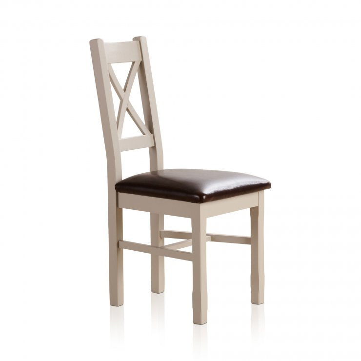 Kemble Rustic Solid Oak and Painted and Brown Leather Dining Chair - Image 2