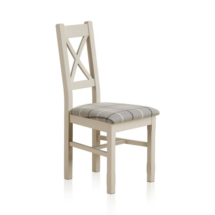 Kemble Rustic Solid Oak and Painted and Check Granite Fabric Dining Chair - Image 3