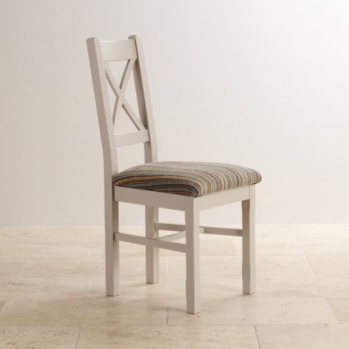 Kemble Rustic Solid Oak and Painted and Multi-coloured Stripe Fabric Dining Chair