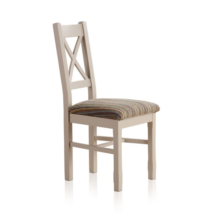 Kemble Rustic Solid Oak and Painted and Multi-coloured Stripe Fabric Dining Chair - Image 1